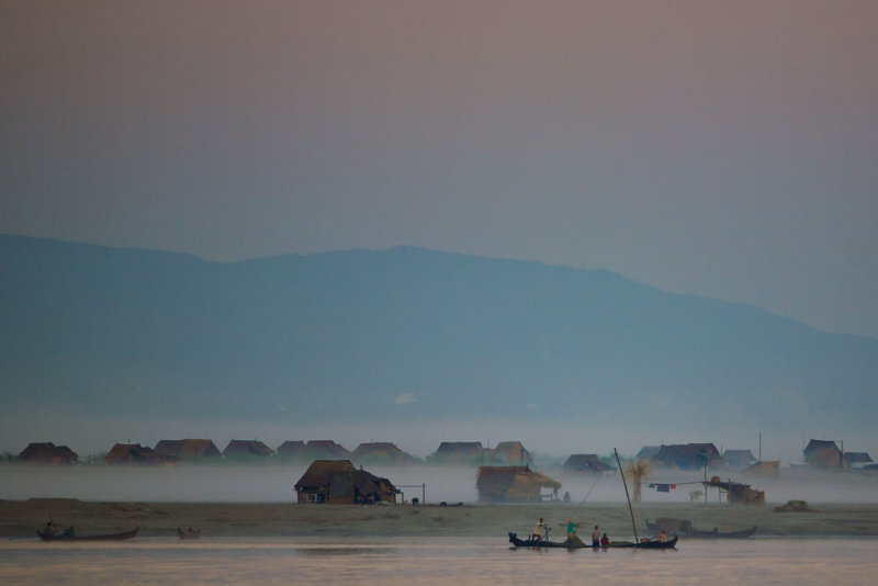 Early Morning on The Irrawaddy River bank