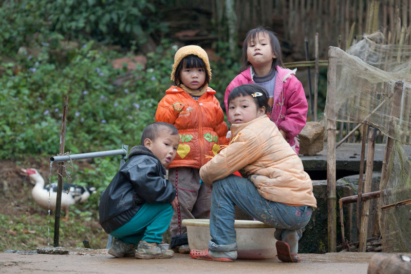 Children playing in a little village near Sa Pa