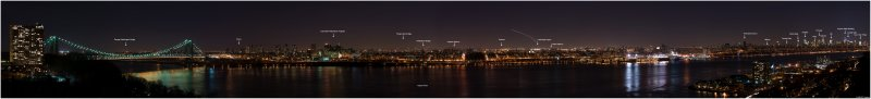 Manhattan Skyline Panorama  at Night (Labeled)