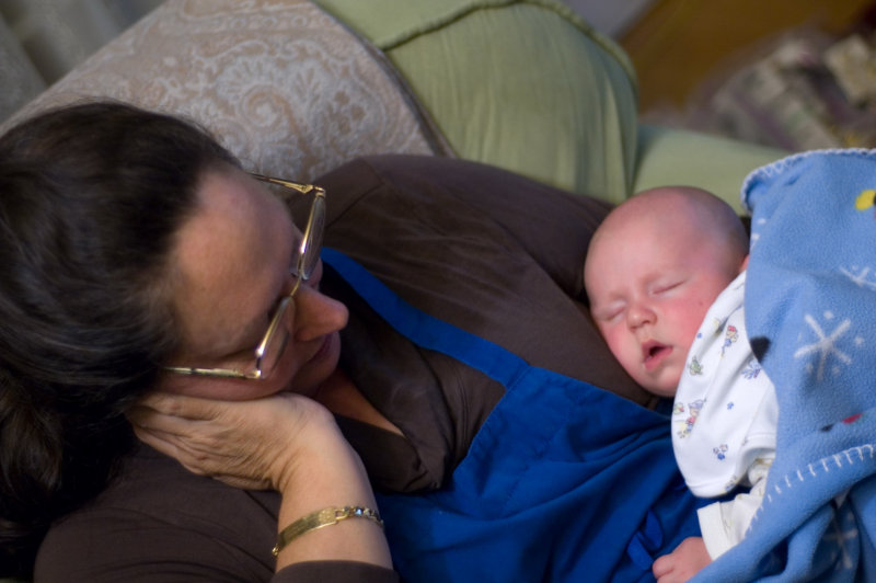 DSC_0010 Miriam with Aidan asleep.JPG