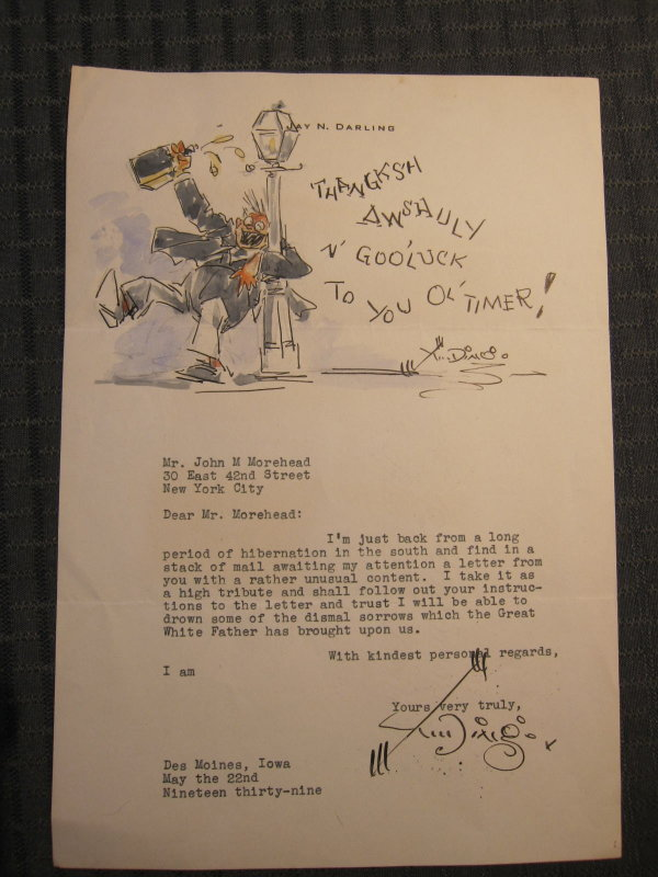 Correspondence from 1939 with original watercolor