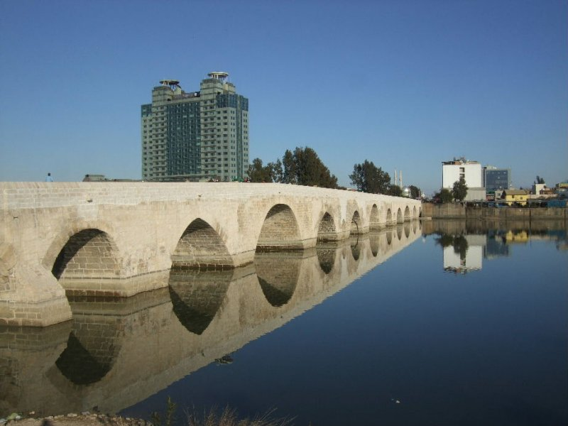 Old Roman Bridge built in the 2d century.  It is limited to walkers and motercyles now.  The Hilton is in the background.