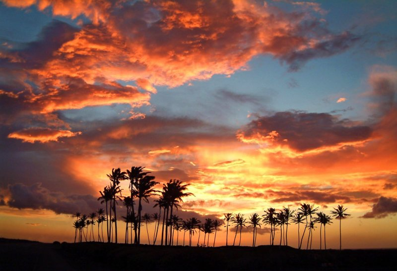Sunset after winter storm on the Kohala Coast