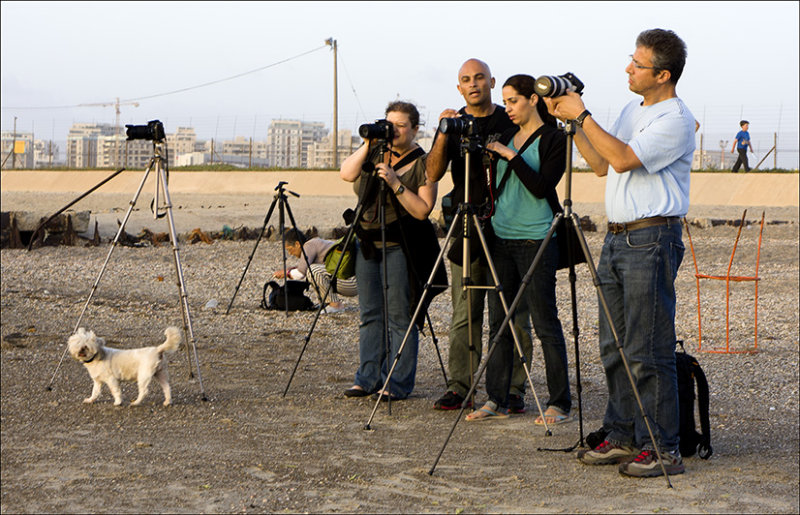 Photographers preparing for for sunset shots