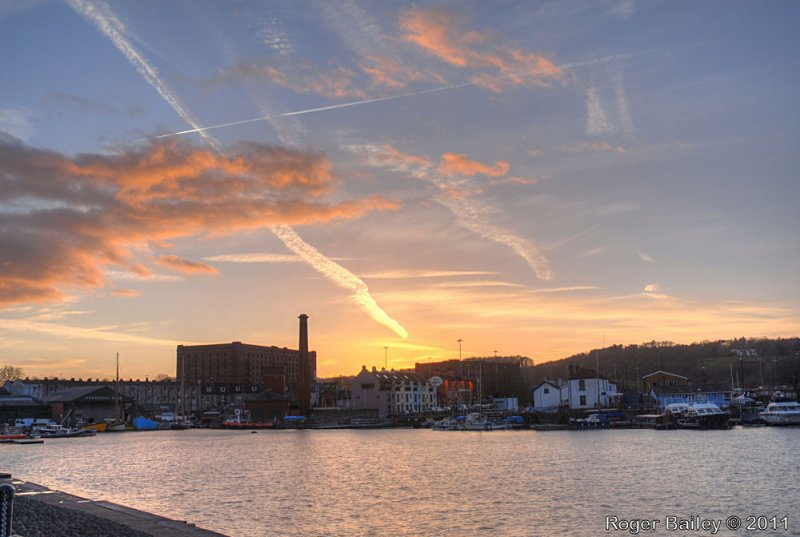 Sunset and vapour trails.