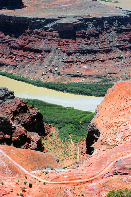 Looking down on SJC 142, an amphitheater, and the Colorado River
