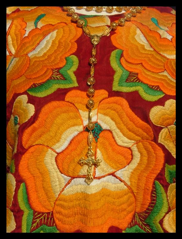 Golden Rosary on Embroidery