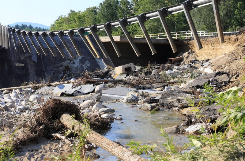 Washed out bridge on route 7 Rutland, Vt.