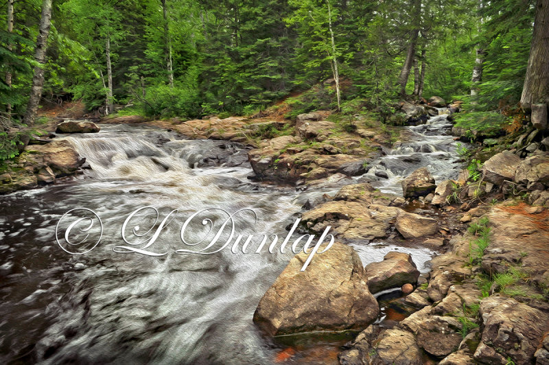 74.6 - Oil:  Caribou River -- Photograph Rendered With Oil Paint Effect