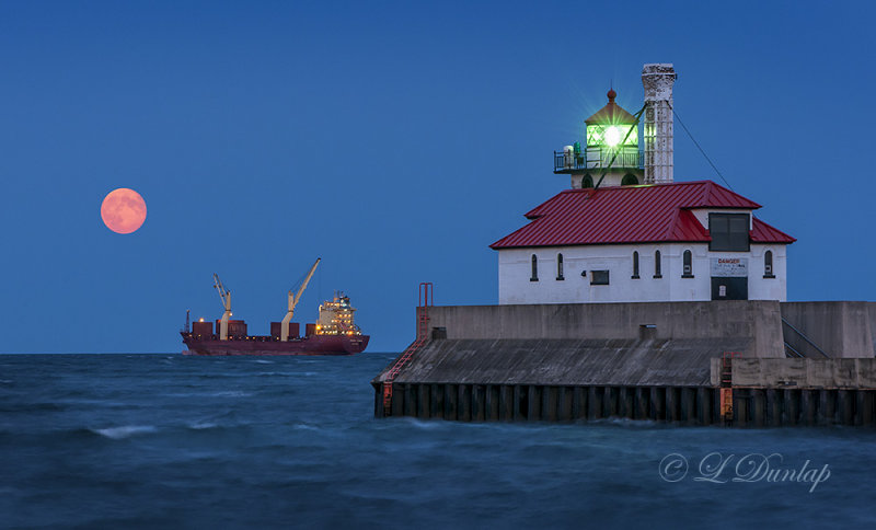 93.61 - Duluth Harbor:  Full Moon, With The Federal Power At Anchor
