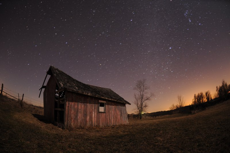 Starry Night with Old Barn