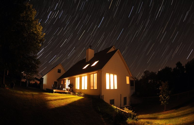 Startrails Over House