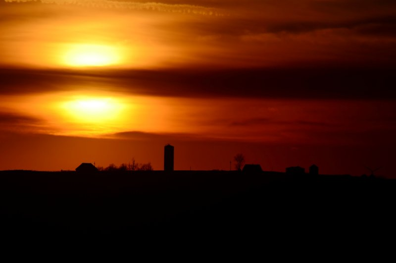 Sunset Behind Farmstead