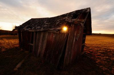 Sunset Through Barn
