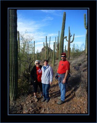 The Gang in the Saguaro Forest on Lost Dutchman Trail