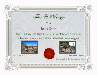 Jean's Certificate