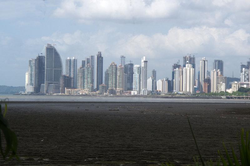 Panama City viewed over the old Panama mud flats