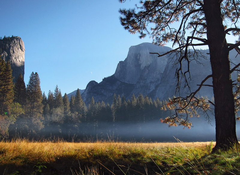 Sunrise 10/30/12.  Stoneman Meadow. View of North Dome and Half Dome  #2769