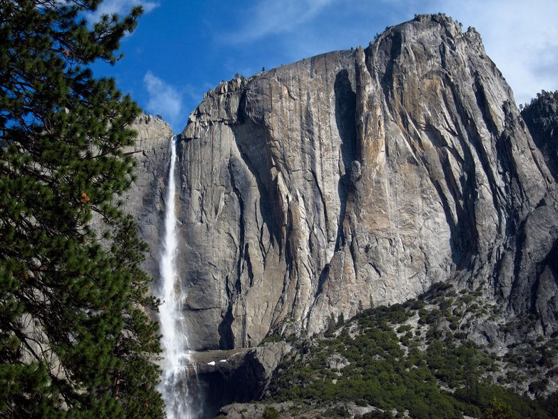 First view of Yosemite waterfalls  without overcast skies.  #3700