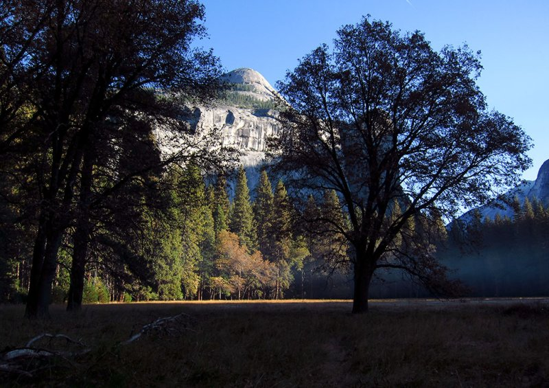 North Dome just as the sun was rising over Half Dome next day, same meadow.  #2756.