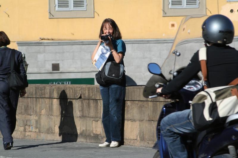 Me, on Ponte Santa Trinita, avoiding Ponte Vecchio crowds