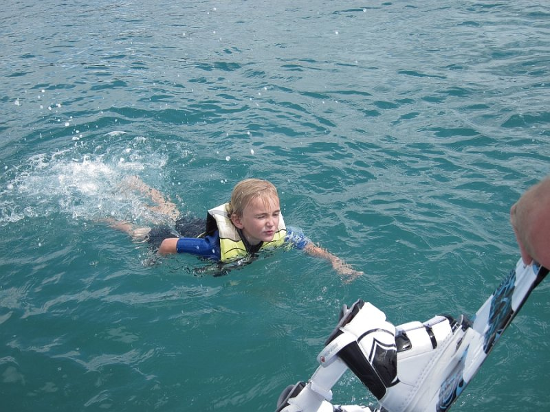 Swimming to the boat