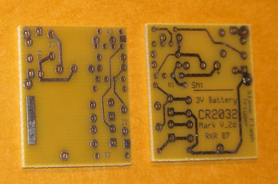Printed circuit board front and back, from an earlier version,