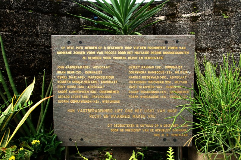 Memorial at Fortress Zeelandia of the December Murders comitted by Desi Bouterse c.s.
