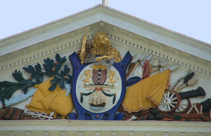 Detail of the presidential palace, the coat of arms of the West-Indische Compagnie