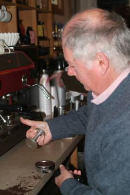 Professor Bruce Ronald Making Own Coffee at College Mkt DSCF.jpg