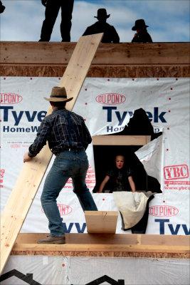 Mennonite house raising.