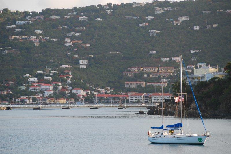 Sailboat in Charlotte Amalie Harbor