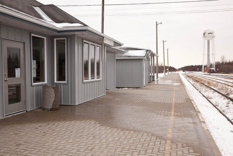 Moosonee station platform view looking south