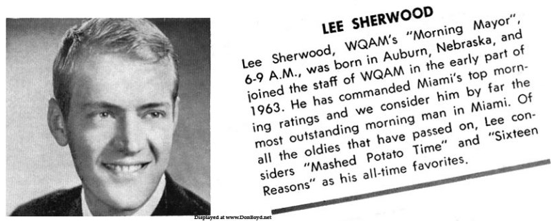 Mid 1960s - WQAM disc jockey Lee Sherwood on the back of WQAMs Oldies but Goodies record album