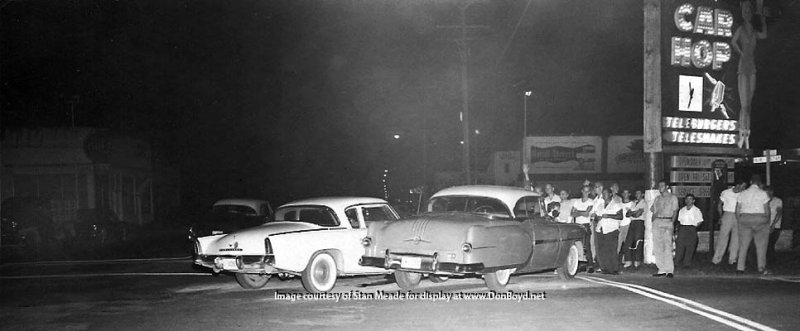 Car Dealerships In Miami >> 1950's - a 1956 Studebaker Hawk in a minor car wreck in front of the Car Hop Drive-In featuring ...