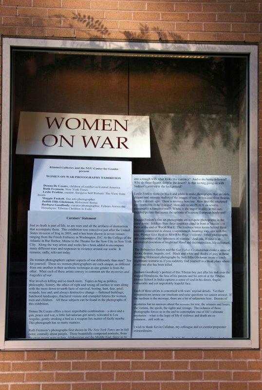 Women on War Photo Photography Show Window - NYU Student Center