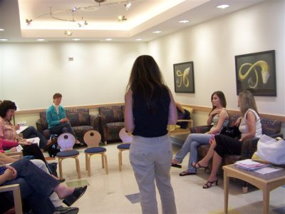 Laurie Weiner,PhD chats in waiting room