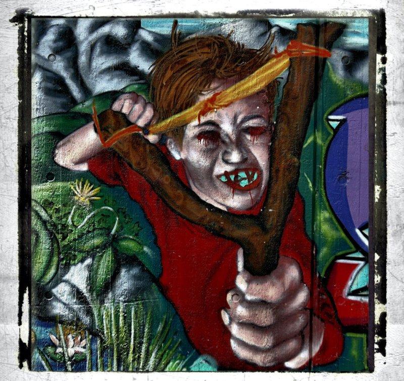 urban mural on a children`s playground
