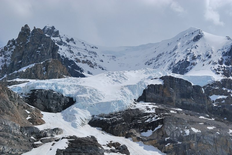 The double A hanging glacier, between Mts Athabasca and Andromeda