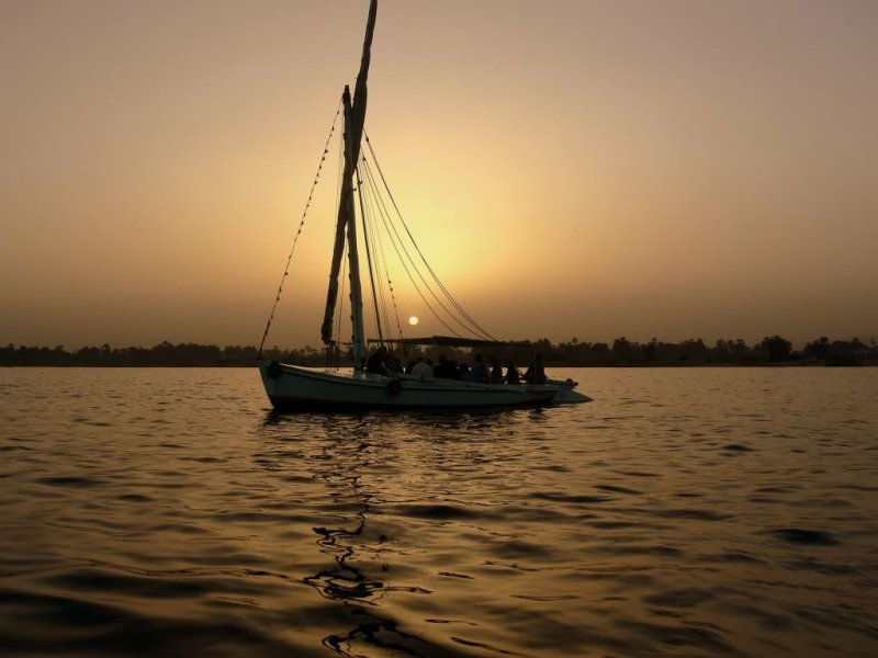 A Windless Sunset Cruise on the Nile