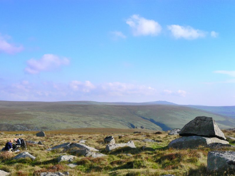 from east of Hare Tor, Kneeset on horizon, letter-boxers bottom left