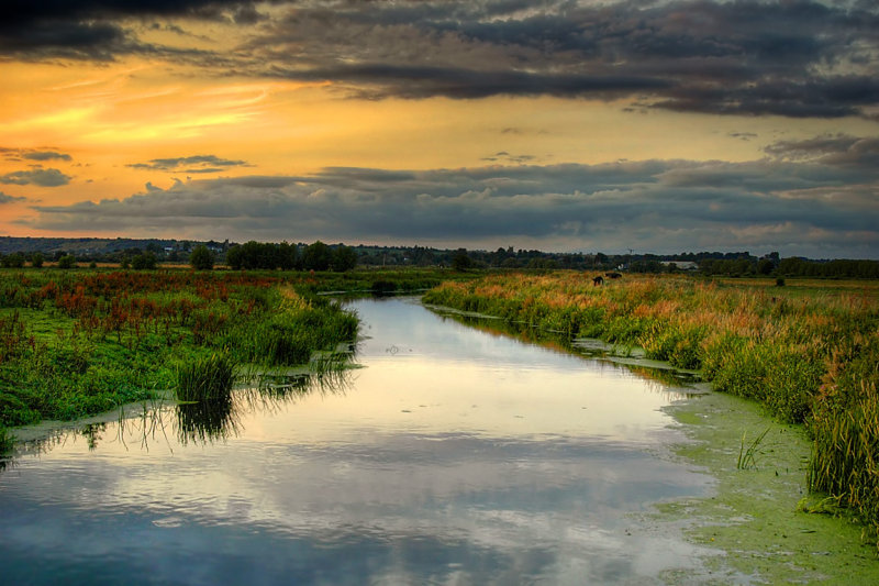 Dusk on the Parrett at Muchelney, Somerset