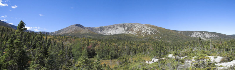 Panoramic of approach to Chimney Pond
