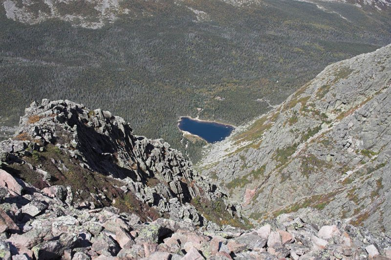 A view of Chimney Pond from the Knife Edge