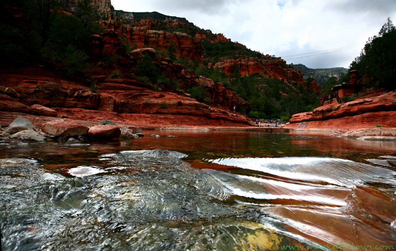 Pristine river through slide rock