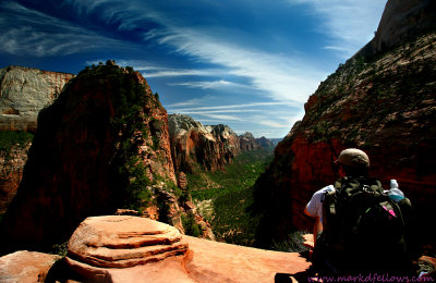 View about 3/4 up Angels landing and after the first chain trail section
