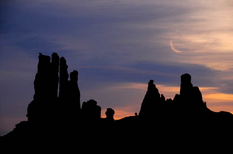 Moonset Over the Totem Poles, Monument Valley