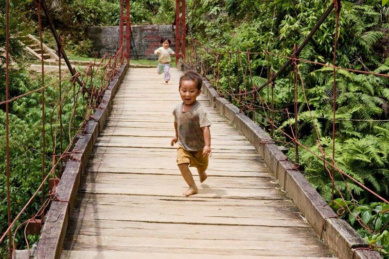Northern Vietnam -  fearless Hmong kids at play