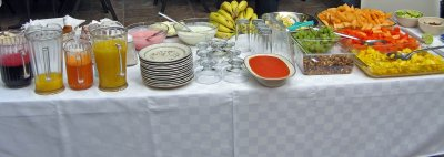 Cold buffet of fresh fruits, yogurt and granola