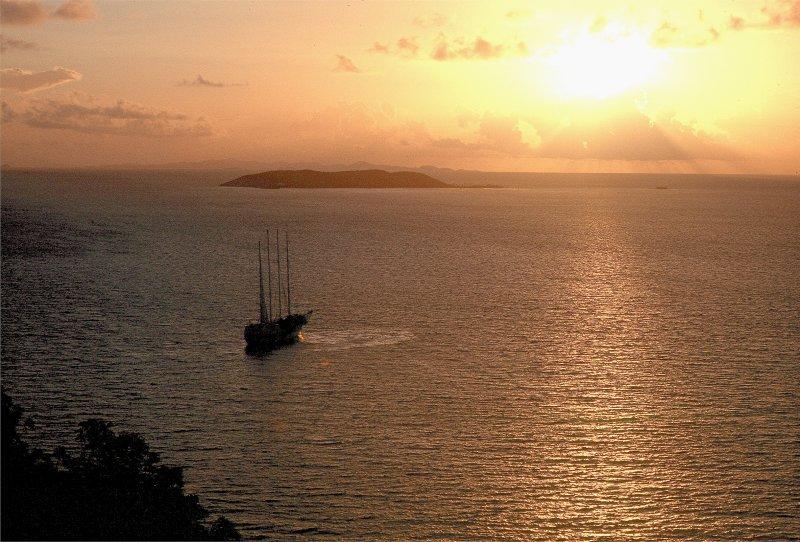 Masted Ship at Sunrise